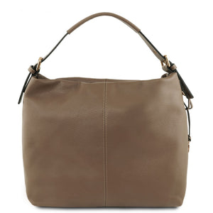 Front View Of The Dark Taupe Soft Leather Hobo Shoulder Bag
