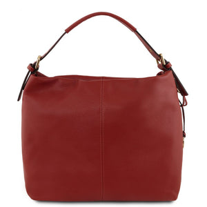 Front View Of The Red Soft Leather Hobo Shoulder Bag
