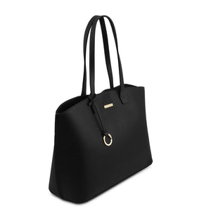 Angled View Of The Black Soft Leather Shopper Bag