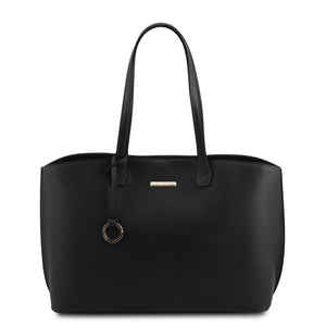 Front View Of The Black Soft Leather Shopper Bag