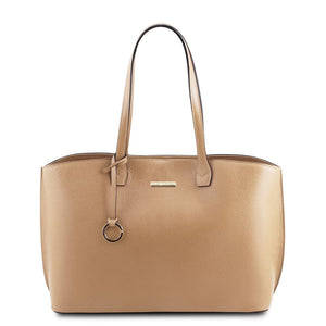 Front View Of The Champagne Soft Leather Shopper Bag
