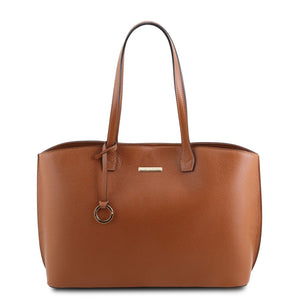 Front View Of The Cognac Soft Leather Shopper Bag