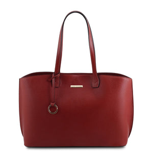 Front View Of The Red Soft Leather Shopper Bag