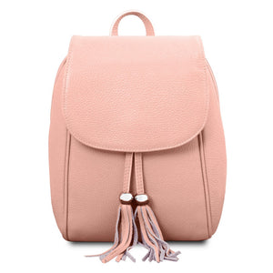 Front View Of The Ballet Pink Womens Small Leather Backpack