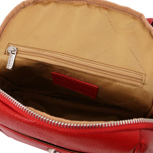 Internal Zip Pocket View Of The Lipstick Red Womens Small Leather Backpack