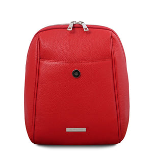 Opened Front Flap View Of The Lipstick Red Womens Small Leather Backpack