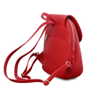 Rear Back Straps View Of The Lipstick Red Womens Small Leather Backpack