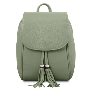 Front View Of The Mint Green Womens Small Leather Backpack