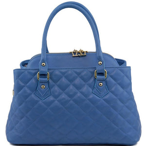 Front View Of The Azure Quilted Leather Handbag