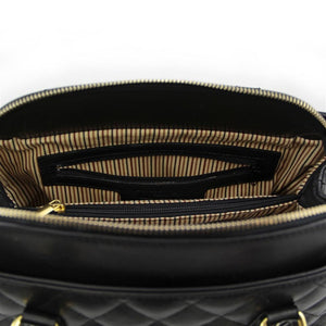 Internal Pocket View Of The Black Quilted Leather Handbag