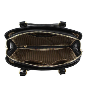 Internal Compartments View Of The Black Quilted Leather Handbag