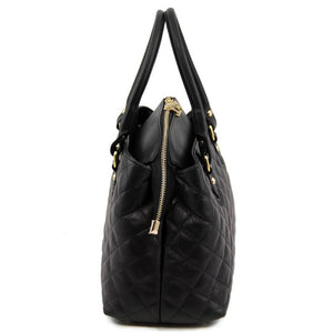 Side View Of The Black Quilted Leather Handbag