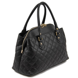 Left Angled View Of The Black Quilted Leather Handbag