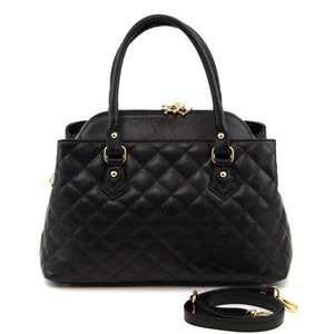 Front And Shoulder Strap View Of The Black Quilted Leather Handbag
