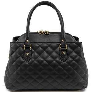 Front View Of The Black Quilted Leather Handbag