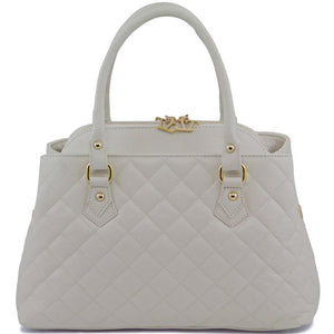 Front View Of The Ivory Quilted Leather Handbag