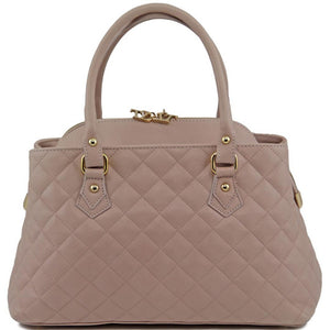 Front View Of The Pink Quilted Leather Handbag