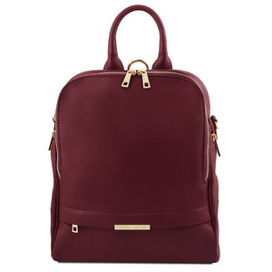 Front View Of The Bordeaux Womens Leather Backpack