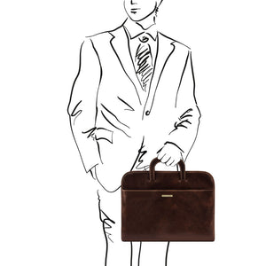 Man Posing With The Dark Brown Leather Document Bag