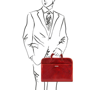 Man Posing With The Red Leather Document Bag