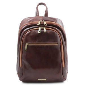 Front View Of The Brown Stylish Leather Backpack