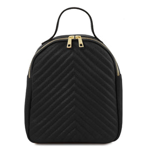 Front View Of The Black Womens Small Leather Backpack