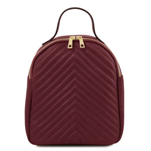 Front View Of The Bordeaux Womens Small Leather Backpack