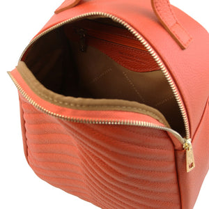 Opening Zipper View Of The Brandy Womens Small Leather Backpack