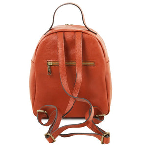 Rear View Of The Brandy Womens Small Leather Backpack