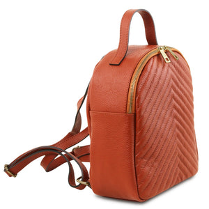 Angled And Shoulder Straps View Of The Brandy Womens Small Leather Backpack