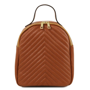 Front View Of The Cognac Womens Small Leather Backpack