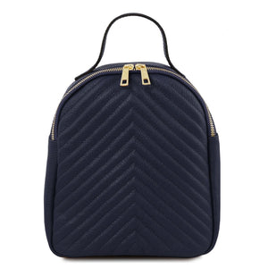 Front View Of The Dark Blue Womens Small Leather Backpack
