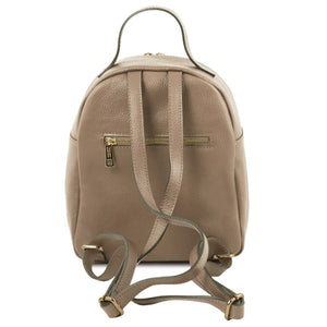 Rear View Of The Light Taupe Womens Small Leather Backpack