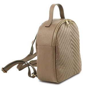 Angled And Shoulder Strap View Of The Light Taupe Womens Small Leather Backpack