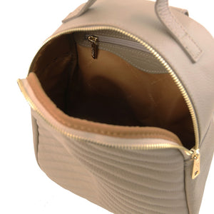 Opening Zipper View Of The Light Taupe Womens Small Leather Backpack