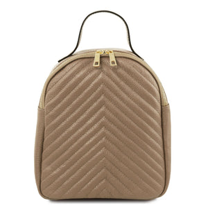 Front View Of The Light Taupe Womens Small Leather Backpack