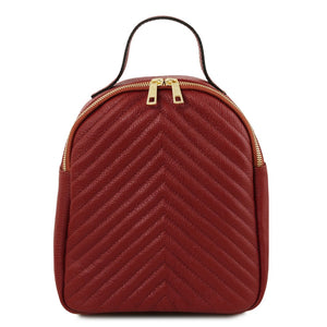 Front View Of The Red Womens Small Leather Backpack
