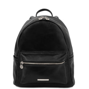 Front View Of The Black Leather Backpack Sydney