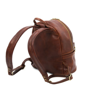 Rear And Shoulder Strap View Of The Brown Leather Backpack Sydney