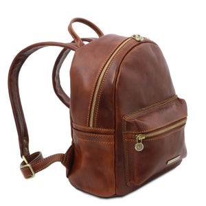 Angle And Shoulder Strap View Of The Brown Leather Backpack Sydney