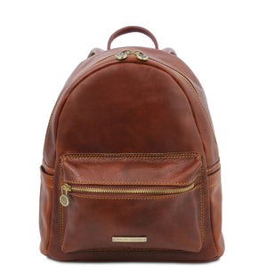 Front View Of The Brown Leather Backpack Sydney