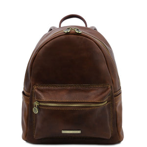 Front View Of The Dark Brown Leather Backpack Sydney