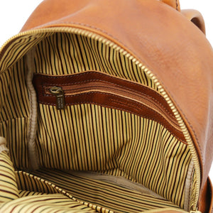 Internal Zip Pocket View Of The Honey Leather Backpack Sydney