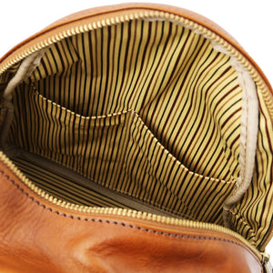 Internal Pocket View Of The Honey Leather Backpack Sydney