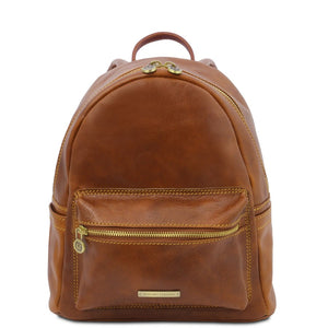 Front View Of The Honey Leather Backpack Sydney