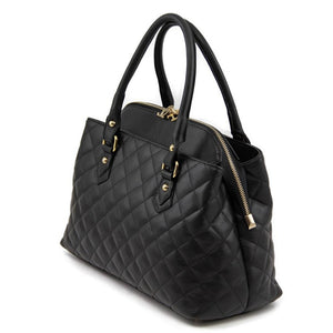 Right Angled View Of The Black Quilted Leather Handbag