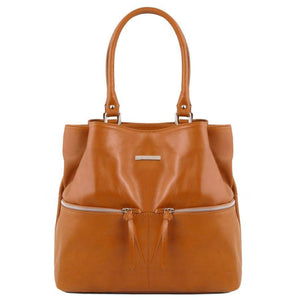 Front View Of The Cognac Leather Shoulder Bag With Outside Pockets