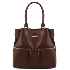 Front View Of The Dark Brown Leather Shoulder Bag With Outside Pockets