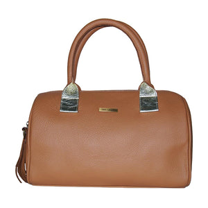 Front View Of The Caramel Womens Leather Duffel Bag