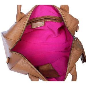 Internal View Of The Caramel Womens Leather Duffel Bag